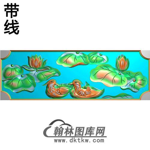 荷花鸳鸯碑板精雕图(MBBB-1632)