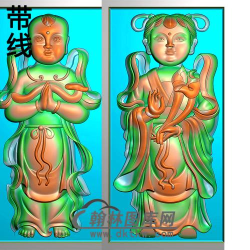 童子碑板精雕图(MBBB-1778)