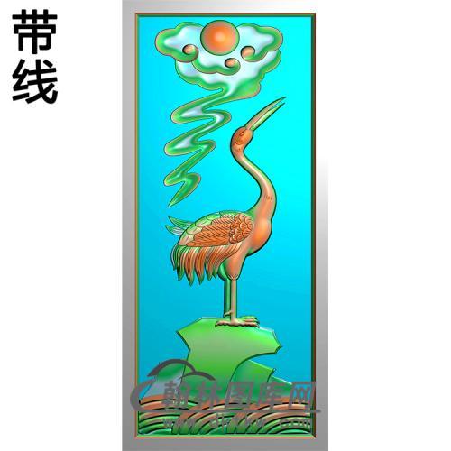 鹤碑板精雕图(MBBB-2080)