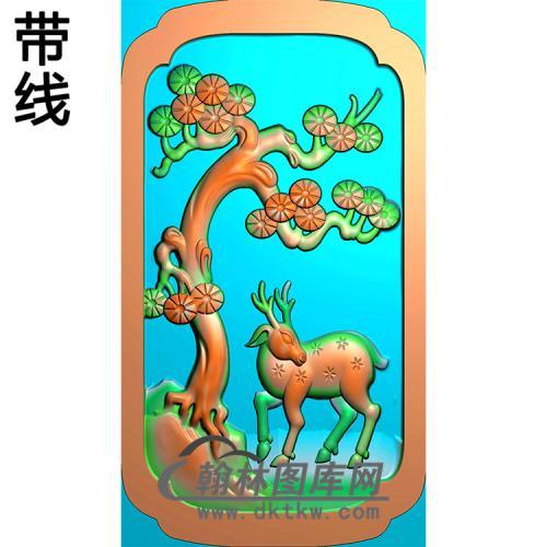 松树鹿碑板精雕图(MBBB-2086)