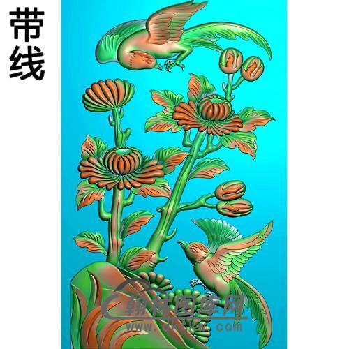菊花碑板精雕图(MBBB-2094)