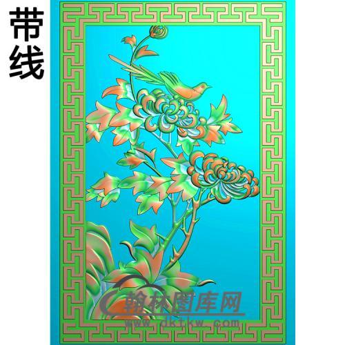 菊花鸟碑板精雕图(MBBB-2177)