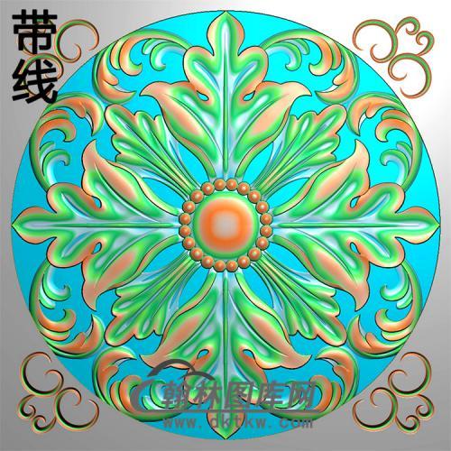 方花碑板精雕图(MBBB-2192)