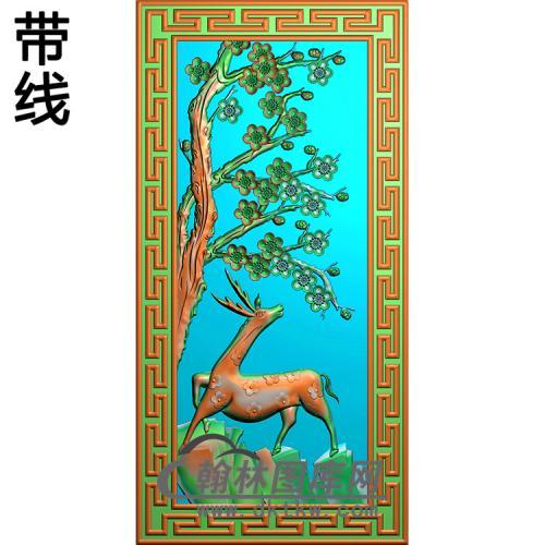 梅花鹿碑板精雕图(MBBB-2198)