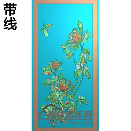 牡丹蝴蝶碑板精雕图(MBBB-2217)