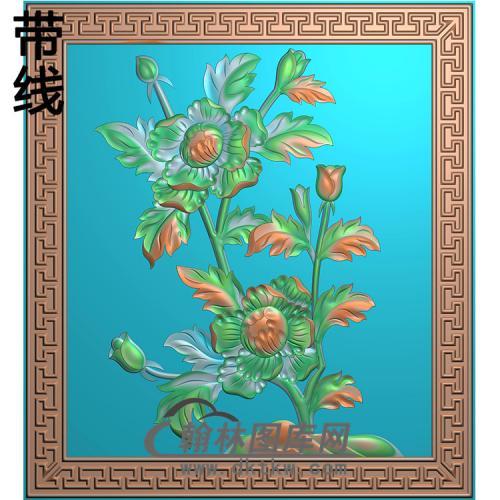 牡丹碑板精雕图(MBBB-2244)