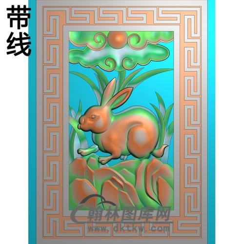 兔子碑板精雕图(MBBB-2263)