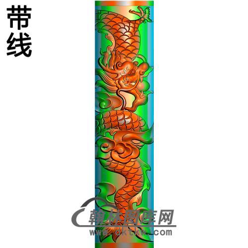 龙立柱精雕图(MBLZ-2393)