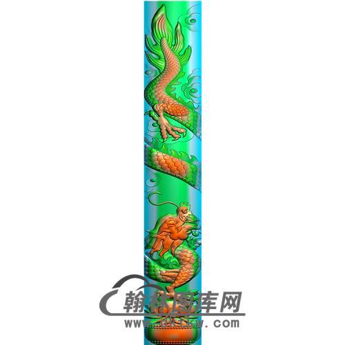 龙立柱精雕图(MBLZ-2396)