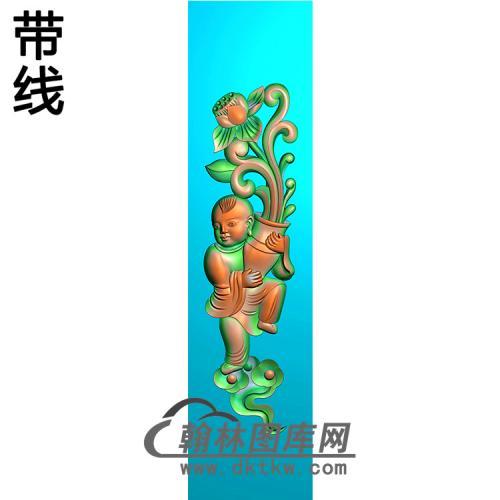 童子立柱精雕图(MBLZ-2412)