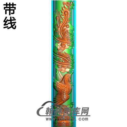 凤立柱精雕图 (MBLZ-2413)