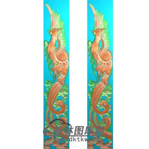 凤立柱精雕图 (MBLZ-2417)
