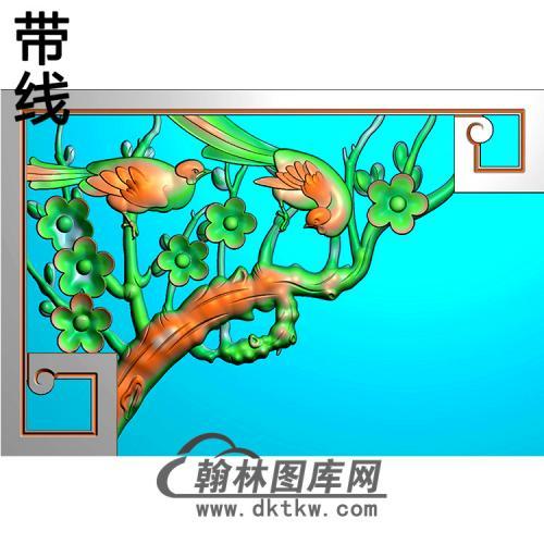 梅花鸟耳朵精雕图(MBED-0815)