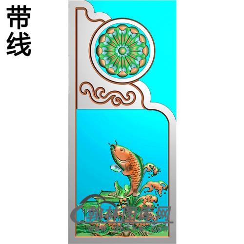 鲤鱼抱鼓精雕图  (MBBG-0837)