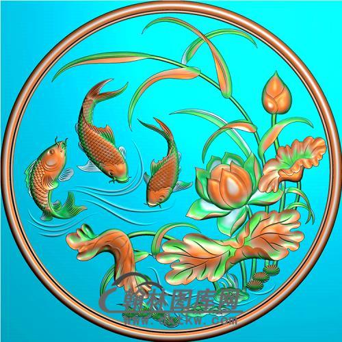 荷花鱼抱鼓精雕图(MBBG-1060)