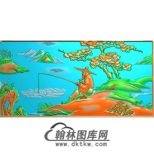 老翁钓鱼精雕图(MBSC-2475)