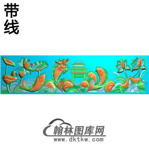 荷花鱼横梁精雕图(MBHL-1278)