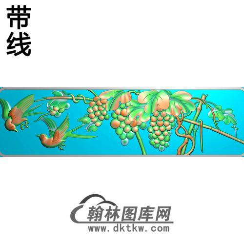 葡萄鸟横梁精雕图  (MBHL-1429)
