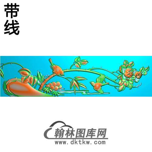 牡丹鸟横梁精雕图 (MBHL-1431)