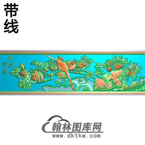 牡丹鸟横梁精雕图(MBHL-1436)