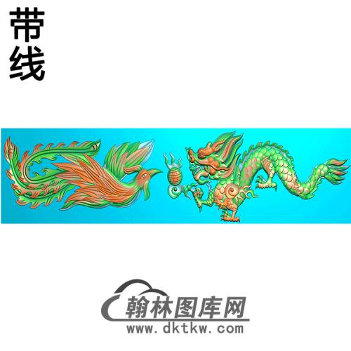 龙凤横梁精雕图 (MBHL-1448)