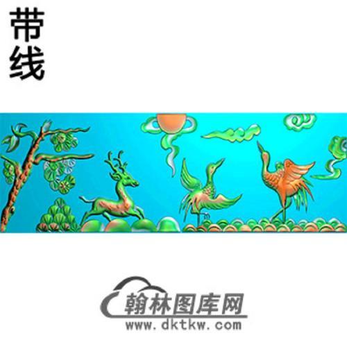 鹿松鹤横梁精雕图 (MBHL-1333)
