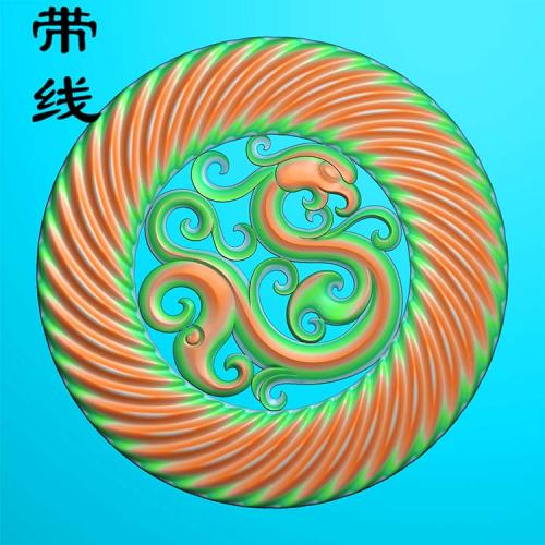 仿古圆纹凤凰精雕图(GJF-004)