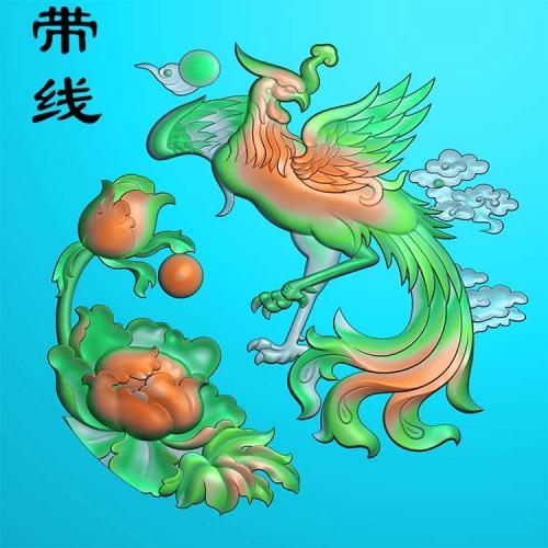 凤凰牡丹精雕图(GJF-007)