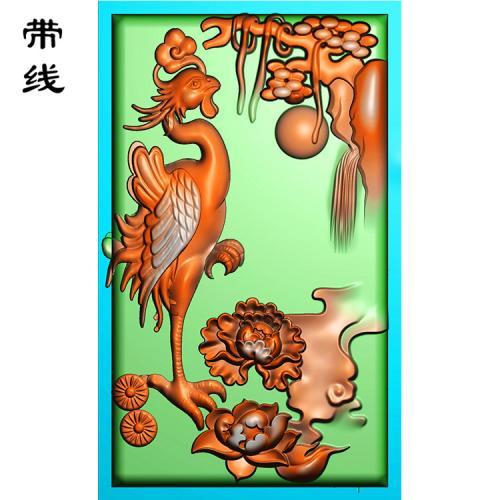 山水牡丹凤凰精雕图(GJF-009)