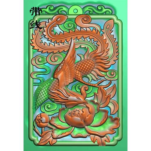 46牌凤凰牡丹精雕图 (GJF-020)