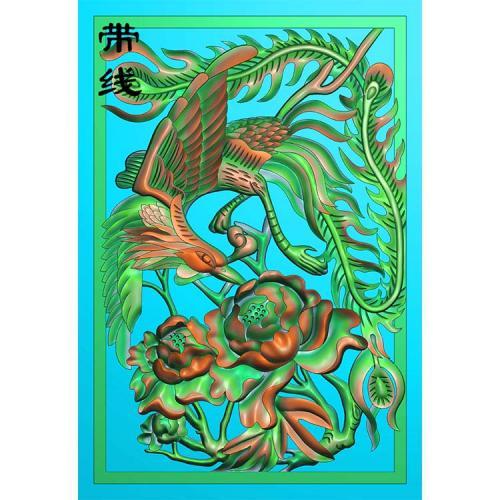 凤舞九天凤凰牡丹精雕图 (GJF-022)