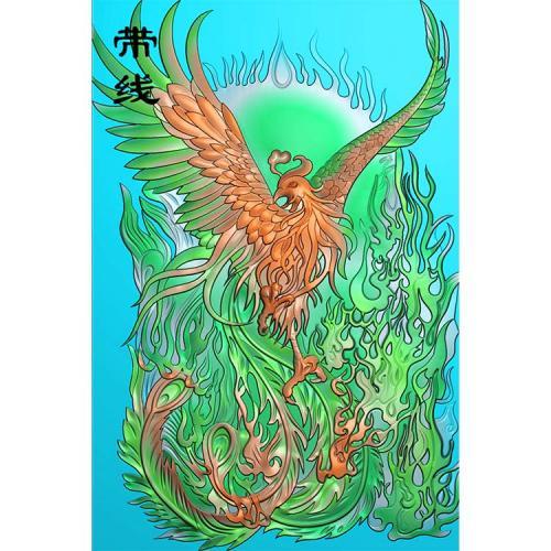 火凤凰精雕图 (GJF-023)