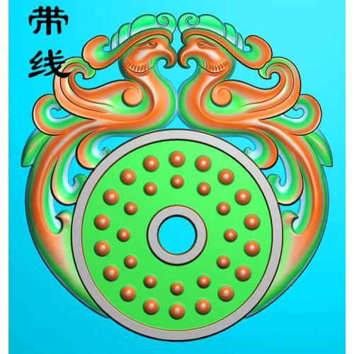 玉雕乳丁双凤呈祥精雕图 (GJF-027)