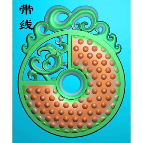 圆镂空仿古凤精雕图 (GJF-001)