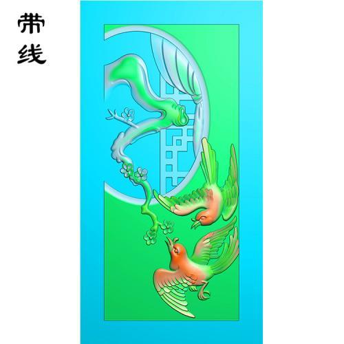 梅花鸟精雕图(MHN-004)