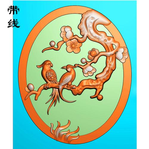 梅花鸟精雕图(MHN-013)