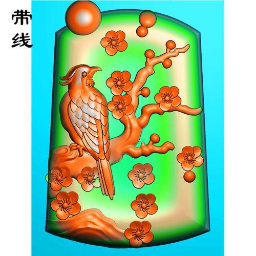 梅花鸟精雕图(MHN-017)