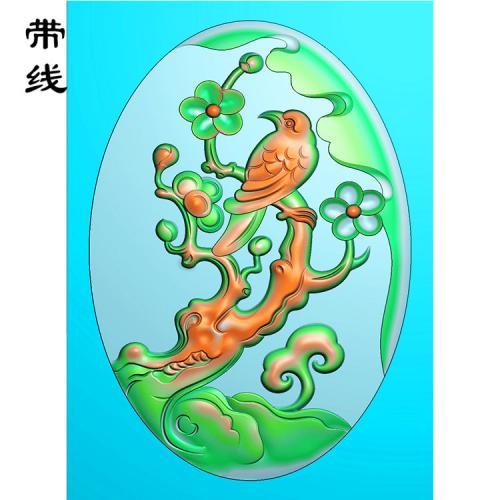 梅花鸟精雕图(MHN-030)
