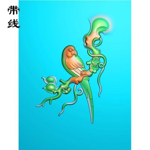 梅花鸟精雕图(MHN-034)