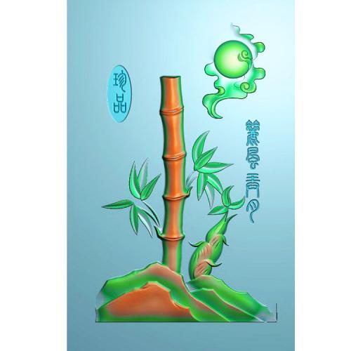 石头文字竹子精雕图(ZN-030)