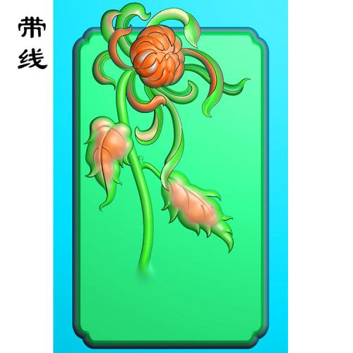 菊花挂件精雕图(JH-004)