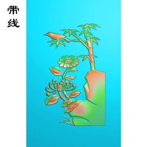 菊花竹子鸟挂件精雕图(JH-001)