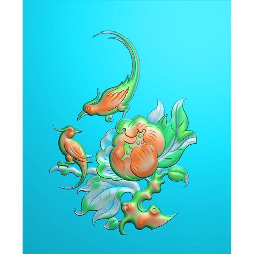 牡丹花鸟精雕图(MDN-002)