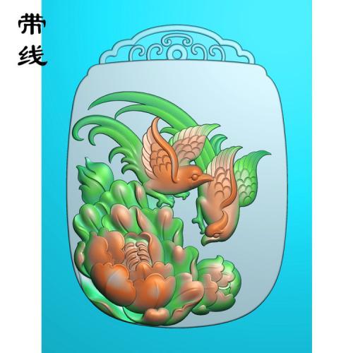 牡丹花鸟精雕图(MDN-004)