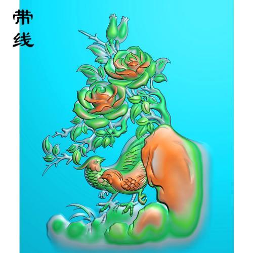 牡丹花鸟精雕图(MDN-005)