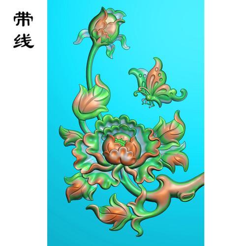 蝴蝶牡丹花精雕图(MDN-007)