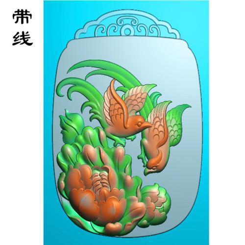 牡丹花鸟精雕图(MDN-008)