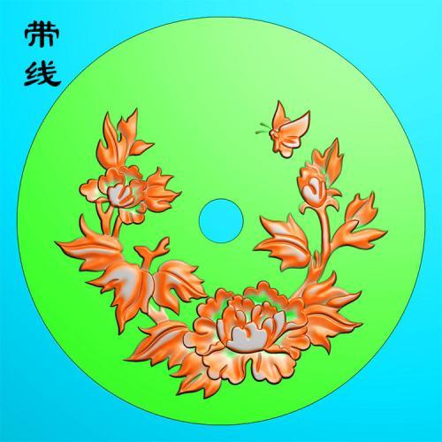 圆盘牡丹精雕图(MDN-009)