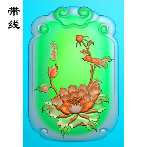 富贵牡丹挂牌精雕图(MDN-011)