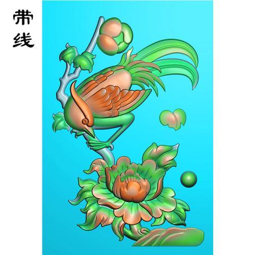 牡丹花鸟精雕图(MDN-013)